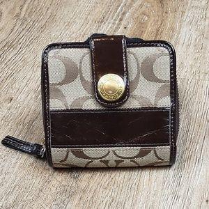 Coach Signature Stripe Medium Zip Around Wallet